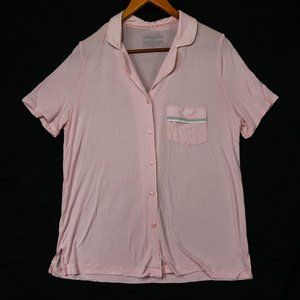 Victoria's Secret Soft Pink Pocket Button Up Top